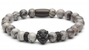 Bransoletka Zorrata Black Matte Lion/Grey Jasper