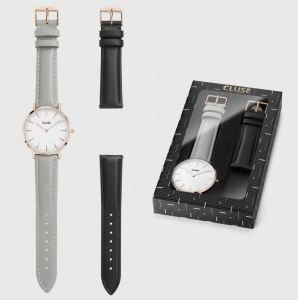 Zestaw Zegarek Cluse La Boheme Rose Gold White Grey with Black Strap