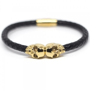 Bransoletka SkeletonHD Genuine Leather Gold Twin Skull