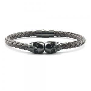 Bransoletka SkeletonHD Black Skull Leather Bracelet