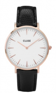 Zegarek Cluse La Boheme Rose Gold White/Black Lizard