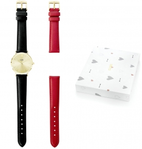 Zestaw Zegarek Cluse Minuit Yellow Gold Black with Red Strap