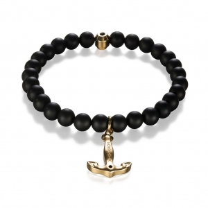 Bransoletka Zorrata Gold Anchor - Black