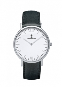 Zegarek Kapten Silver Black Leather