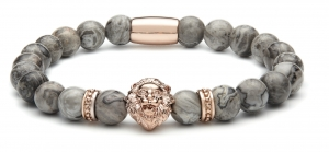 Bransoletka Zorrata Rose Gold Lion/Grey Jasper