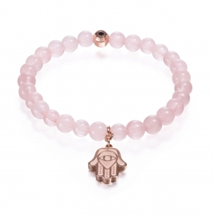 Bransoletka Zorrata Rose Gold Hand Of Hamsa - Rose Quartz