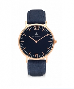 Zegarek Kapten Black Night Blue Suede Leather
