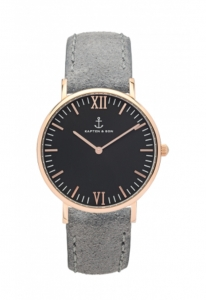 Zegarek Kapten Black Grey Vintage Leather