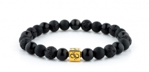 Bransoletka Aurum Brothers Minimal Gold Black Mixed