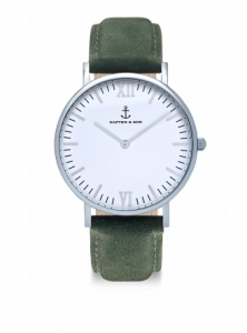 Zegarek Kapten Silver Pine Green Suede Leather