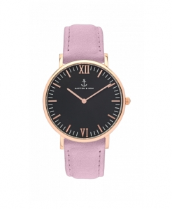 Zegarek Kapten Black Lavender Velvet Leather